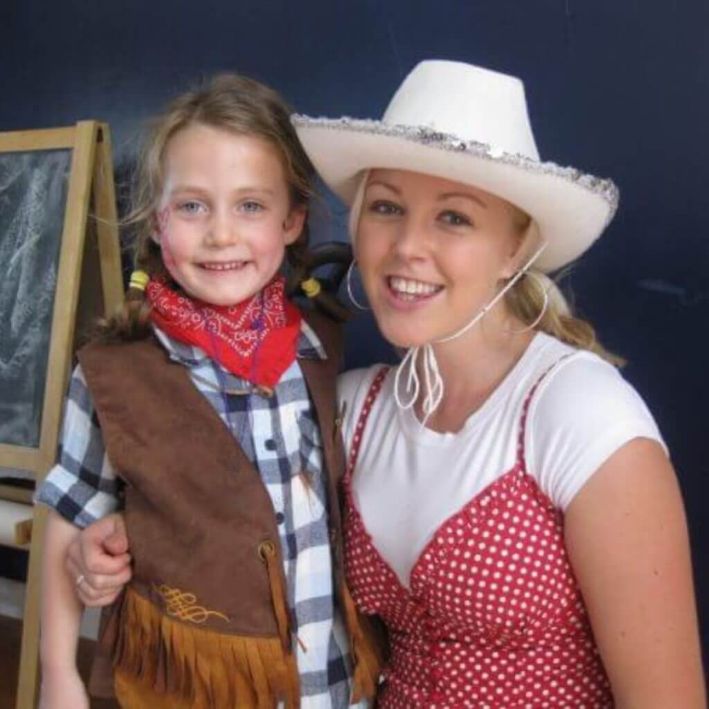 Cowgirl with child