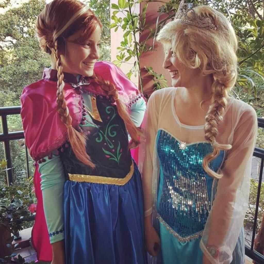 Elsa and Anna posing