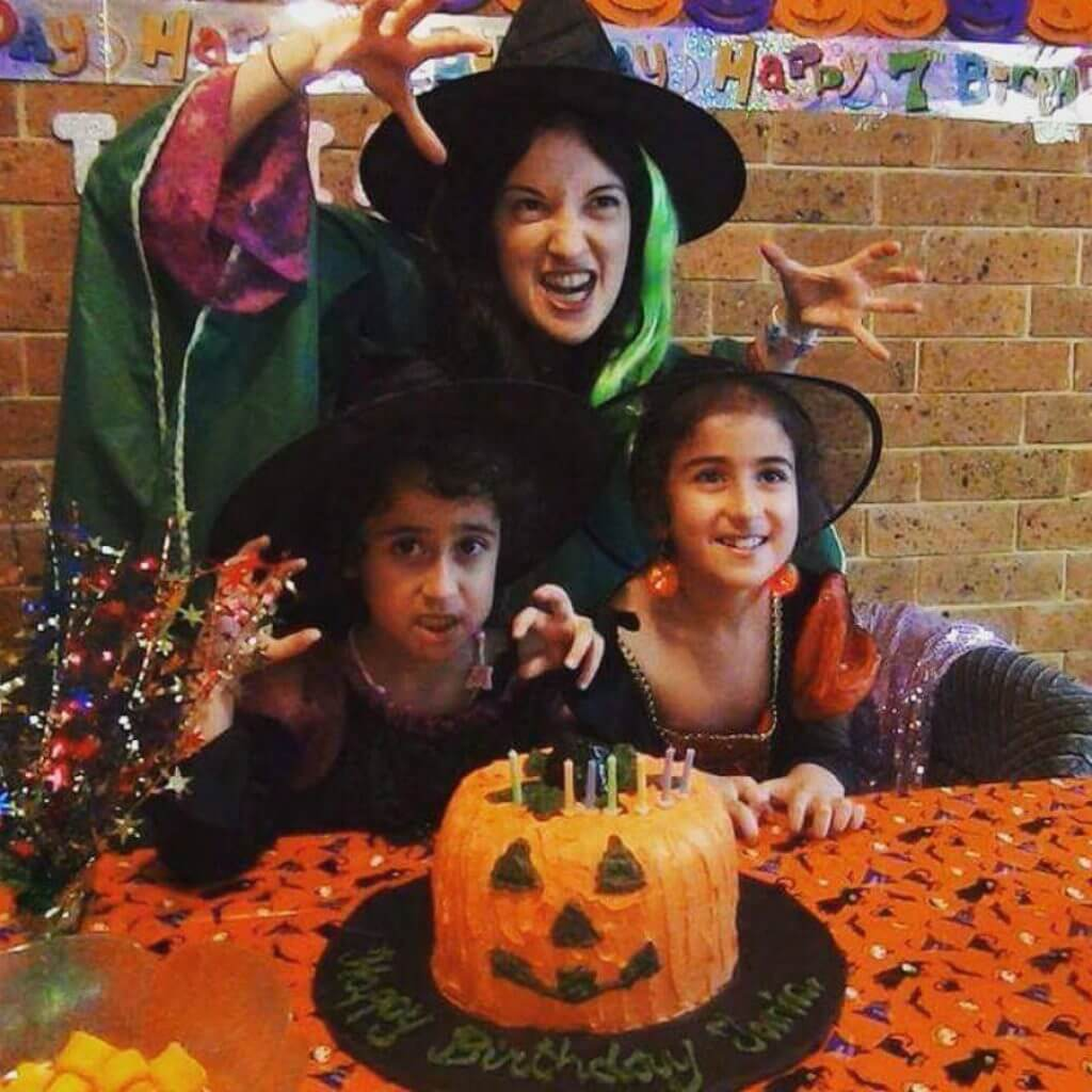 Witch with children